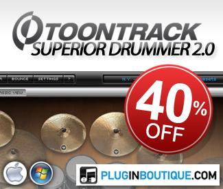 ToonTrack Superior Drummer 40% off at Plugin Boutique