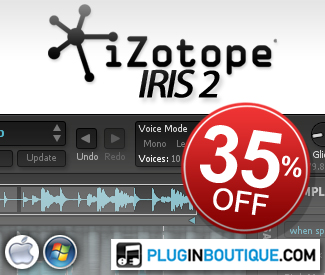 We're offering 35% off iZotope's spectral synthesizer, Iris 2.