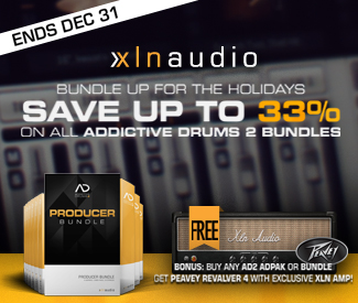 XLN Audio Christmas Deals have begun with 10% off their Addictive Drums 2 Solo Bundle + Free Peavey Revalver 4 Amp.