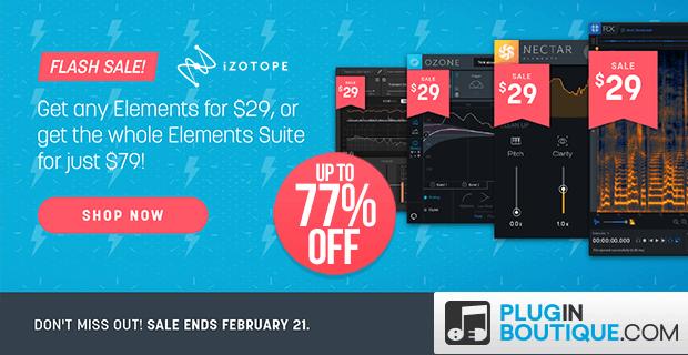 iZotope Elements Flash Sale, save at Plugin Boutique